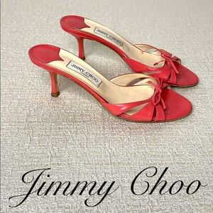 JIMMY CHOO PINK KITTEN HEEL SANDALS SIZE 9